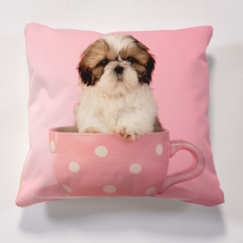 Iconic Dog in Cup Cushion Cushions
