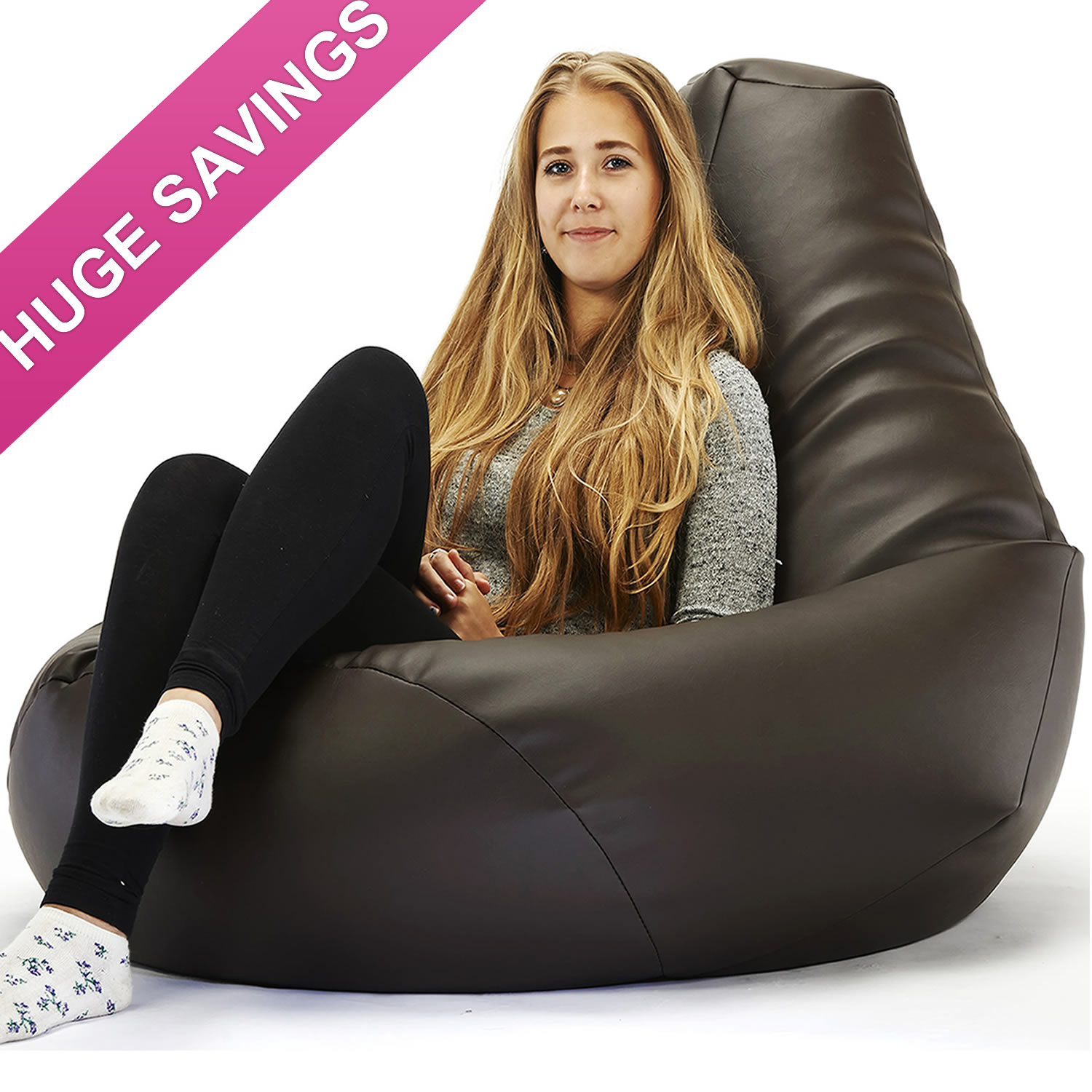 Mega Highback Faux Leather Beanbag