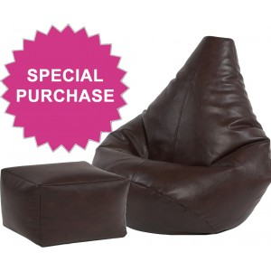 Highback Beanbag and footstool Faux Leather