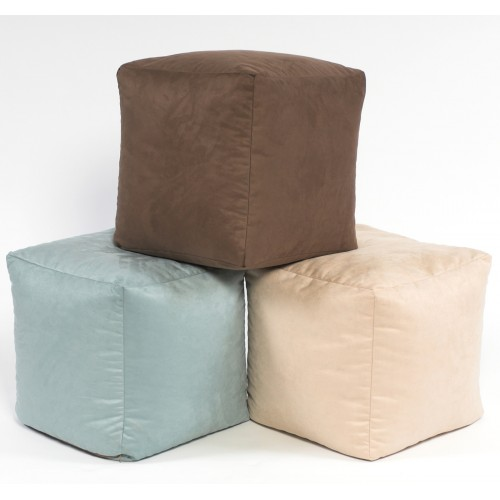 Footstool Cube Faux Suede Large