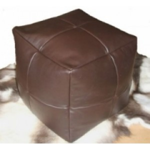 Small REAL Leather Brown Cube/Footstool Was £49.99 SALE
